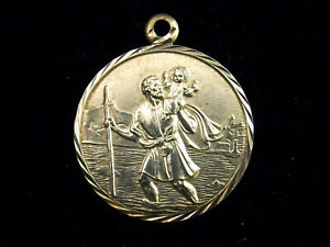 Saint Christopher St Christopher vintage sterling silver circular charm