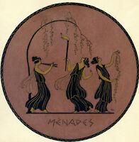 1930s French Pochoir Greek MENADES Maenads Dionysus Followers Women