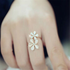Elegant Women Jewelry Gold Daisy Flower Crystal Rhinestone Open Ring Gift TR59