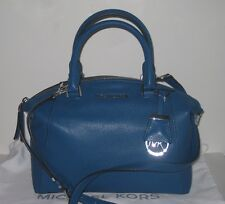 New Michael Kors Riley Pebble Leather Small Satchel in Steel Blue Color