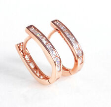 Damen Cz Cubic Zirkonia Kristall Rosen Gold Beschichtet U-Förmig Reifen