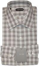 NEW TOM FORD WHITE & DARK BROWN PLAID CHECK DRESS SHIRT 44 17.5 $560