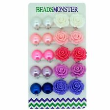 Colour Faux Pearl Rose Flower Clip on Earrings Gift for Little Teen Girls Womens