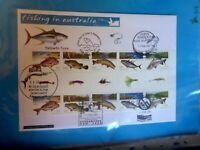 AUST FISHING  STAMPS GUTTER STRIP 10 PRIVATE FDC 6 PICTORIALS