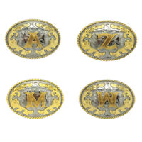 Western Cowboy Cowgirl Personality Initial Letter Belt Buckle Silver Gold Color