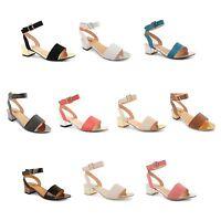 Ladies Womens Flat Low Block Heel Sandals Ankle Strap Open Toe Shoes Buckle Size