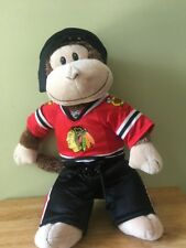Build A Bear Chicago Blackhawks Monkey With Jersey, Pants and Hockey Hat.