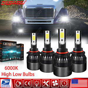 9005 9006 LED Headlight High Low Beam Bulbs For Freightliner Columbia 1996-2015
