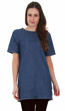 Denim Patternless Casual Tunic Dresses for Women