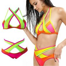 ULTRA Low-Rise HOT Pink ORANGE Neon YELLOW Green BIKINI Padded FLOURO Swimwear