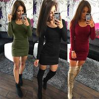 Ladies Sexy Slim Party Dress Women Long Sleeve Stretch Bodycon Club Wear Dress