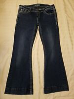 Rock & Roll Cowgirl Trouser Low Rise Stretch Boot Leg Denim Jeans Womens W34 L32