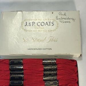 New Old Stock Full Box of J.& P. Coasts Devil Red 144 Embroidery Thread 24 Ct.