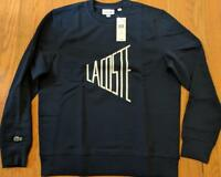 Mens Authentic Lacoste Dynamic Logo Sweatshirt Navy Blue/White 7 2XL $135