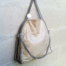 BORSA GRANDE 3 CATENE Stella McCartney  BEIGE SABBIA TAN BAG THREE CHAIN gray