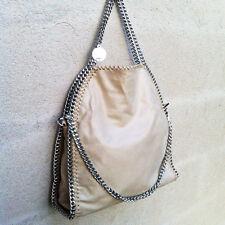 BORSA GRANDE 3 CATENE SILVER BEIGE SABBIA TAN BAG THREE CHAIN gray