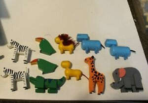 Le Toy England Wooden Wood Noah's Ark replacement parts animal figures lot