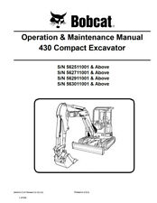 New Bobcat 430 Compact Excavator Operation Maintenance Manual 6902316 Free S&H