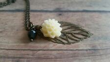 leaf pendant necklace, bronze, filigree, flower, chrysanthemum, ivory