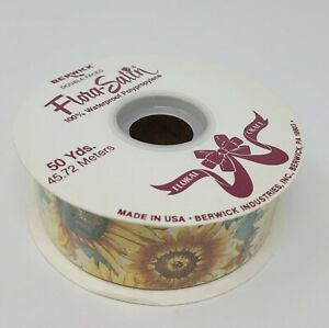 "NEW Berwick Flora-Satin Yellow Sunflower Floral Craft Ribbon 1-7/16"" x 50 YDS"