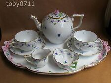 Herend Blue Garland Bleuet TETE A TETE Tea for Two Set-Rose Crackle (Ref861)