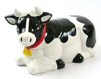Vintage Cow Cookie Jar Ceramic Black and White Holstein with Red Collar