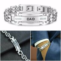 Quality Dad Father Stainless Steel Bracelet Badge Silver Cuff Link Gift For Men