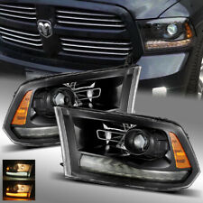 For 09-18 Ram 1500/2500/3500 Full Glossy Black + Smoke DRL Projector Headlights