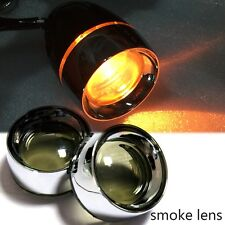 1Pair Metal Trim Ring Smoked Turn Signal Lens Visor x2 For Harley Dyna