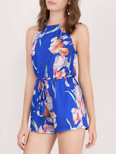 Minkpink By The River Blue White Flower Halter Playsuit Romper NEW XS S M L