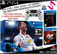 CONSOLA SONY PS4 PLAYSTATION 4 1TB SLIM FIFA 2018 UNCHARTED GT SPORT MANDO PLATA