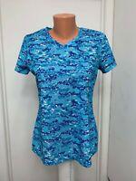 Reel Legends womens Shirt short sleeve geometric v neck white blue s small