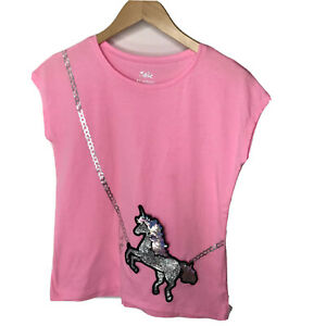 Justice 12 Shirt Unicorn Graphic Tee Sequin Hot Neon Pink Cotton Summer Tee Girl
