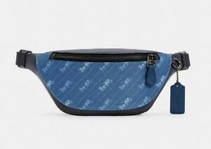 NWT Coach C4138 Warren Mini Belt Bag With Horse And Carriage Dot Pale Jewel Blue