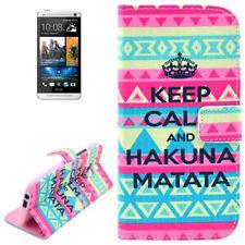 Book Tasche für HTC One 2 (M8) Keep Calm pink blau Handytasche Etui Hülle