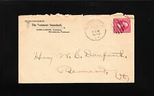 NEWSPAPER Vermont Standard Moore Publisher Woodstock VT 1898 Fancy Canc Cover 7t