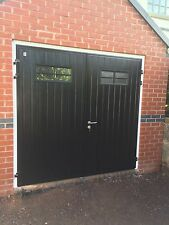 Designer Insulated Side Hinged Garage Door Steel Hung Opening 40mm Thick Modern