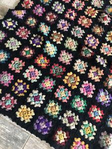 Granny Square Afghan Blanket Black Crocheted Floral Colorful Vintage Mid Century