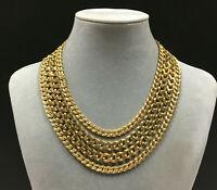 Vintage MONET Massive GOLD Chain Collar STATEMENT Necklace 4-Strand Curb JJ20B