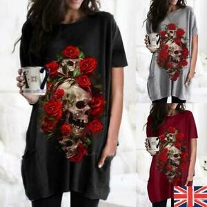 Women Gothic Punk Short Sleeve Tops Ladies Casual Loose T-Shirt Blouse Tee Tunic