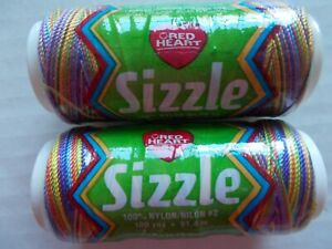 Red Heart Sizzle variegated crochet thread, Fiesta Mix, lot of 2 (100 yds ea)