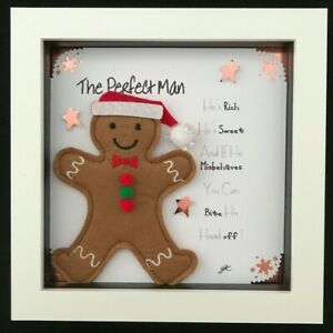 Novelty Christmas Gift Felt Picture Gingerbread Man The Perfect Man