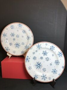 Sakura Snowflake Debbie Mumm Salad Plates S/2 No Chips Cracks Crazing Great