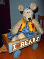 Hand Crafted Weighted Teddy Bear with I Love Bears Wooden Wagon - Adorable Set!