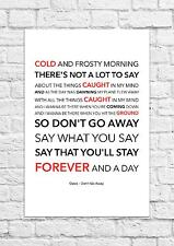 Oasis - Don't Go Away - Song Lyric Art Poster - A4 Size