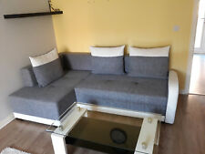 RIGHT CORNER SOFA BED IN DARK GREY& WHITE. WITH STORAGE.Eco leather&fabric