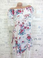 Carmen Sommerkleid Long Tunika Kleid HÄKEL Spitze Blumen 36 38 40 42 Weiß E483