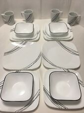 Corelle Dinnerware Set Square 16 Piece Simple Sketch White With Black Accents