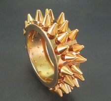 MASSIVE BURBERRY SPIKED HEAVY BANGLE BRACELET YELLOW GOLD PLATED GOTH