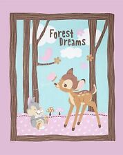 Disney Bambi Woodland Dreams Together Quilt top Wall hanging Panel Fabric Cotton